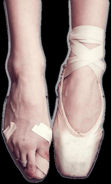 Pies de bailarina de ballet con problemas en uñas